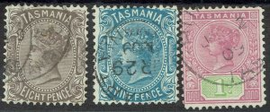 TASMANIA 1906 QV 8D 9D AND 1/- WMK CROWN/A PERF 12.5 USED