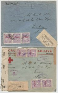 PARAGUAY 1944-45 RED CROSS OFFICIAL R-COVER & DOUBLE CENSOR R-COVER SWITZERLAND