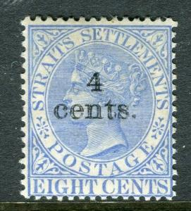 STRAITS SETTLEMENTS; 1898 early QV surcharged Mint hinged Shade of 4 CENTS
