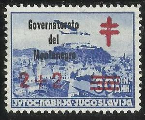 MONTENEGRO 1941 GOVERNATORATO CROCE ROSSA RED CROSS 2 + 2 D SU 30 D MNH FIRMA...