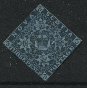 Nova Scotia 1851 3d blue mint no gum