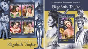 Elizabeth Taylor Cinema Hollywood Oscar Sao Tome and Principe MNH stamp set