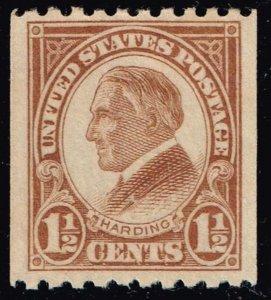 US STAMP #605 – 1925 1 1/2c Harding, yellow brown, coil NNH/OG SUPERB