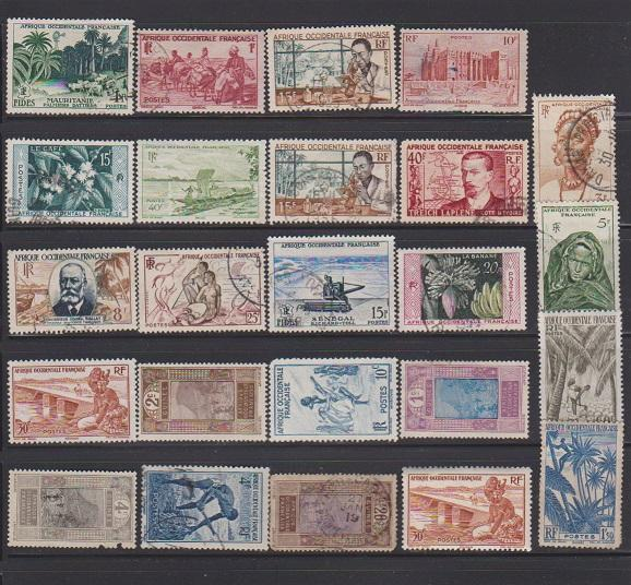 LOT OF DIFFERENT STAMPS OF FRANCE COLONIES MINT& USED (24) LOT#364