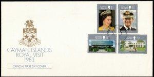 CAYMAN ISLANDS - FDC - Cache Royal Visit 1983 SG569-572