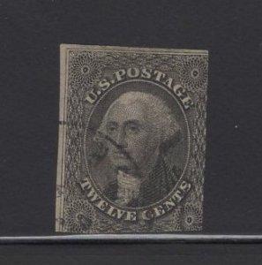 US Stamp Scott #17 USED 12c Washington Black SCV $250