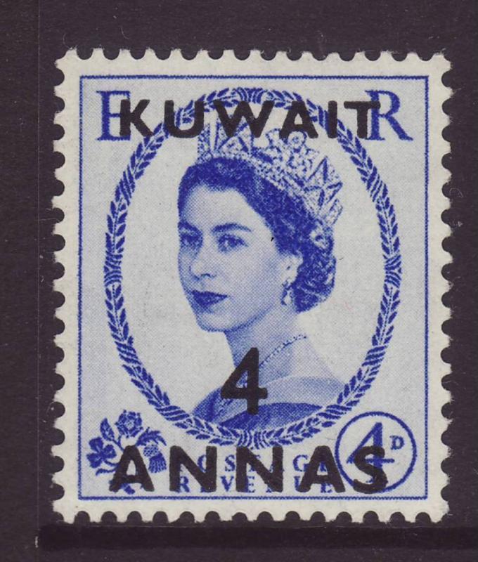 1953 Kuwait 4 Annas Opt On GB 4d Mint