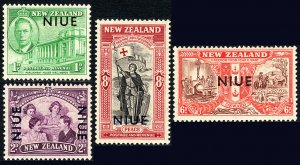 Niue 90-93,Mint.Parliament House,The Royal Family,Coat of Arms,Knight.Ovptd.1946