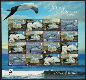 Tristan da Cunha WWF Albatross Bird 4v Sheetlet of 4 sets SG#1063-1066