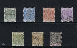 GIBRALTAR SCOTT #29/32/33/34/35/36/37 1889-95 VICTORIA PARTIAL SET-  USED