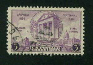 US 1936 3c purple Arkansas Centennial, Scott 782 used, Value = 25c
