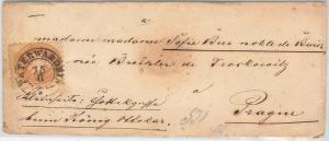 SERBIA \ AUSTRIA  - POSTAL HISTORY - MICHEL 28 on COVER from PETERWARDEIM 1869