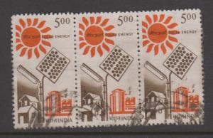 India Sc#1200 Used Strip of 3