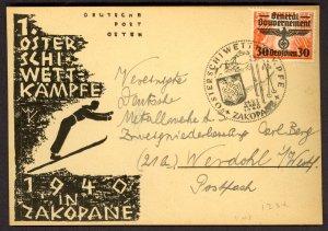 POLAND GERMAN OCCUPATION 1940 ZAKOPANE SKI Competition CARD & POSTMARK Sc N48