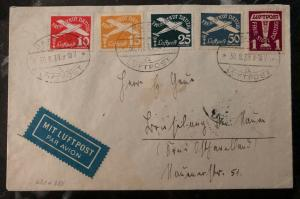 1938 Free City of Danzig Germany Airmail Cover Domestic Used Sc. #C36-40 Set