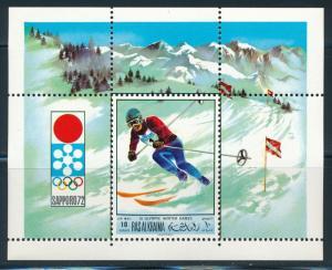 Ras Al Khaima - Sapporo Olympic Games MNH Perf Souvenir Sheet Skiing (1972)