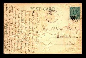 Canada 1910 Learned Plain QC Crisp Cancel Card / DPO  - L27898