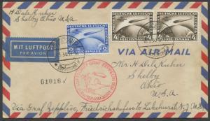 GERMANY #C38-C39 ON ZEPPELIN FLT COVER VIA SOUTH AMERICA TO USA CV $1,225 HV9481