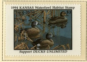 US KS8 KANSAS STATE DUCK STAMP 1994 MNH SCV $8.00 BIN $4.00