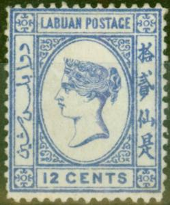 Labuan 1892 12c Brt Blue SG45a No Right Foot to 2nd Chinese Character Fine Mount
