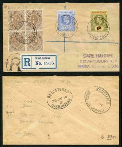 Cayman Islands KEVII 1d on 4d Opt (See note above SG38 in Cat) on Cover