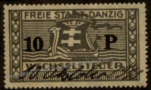 Danzig Frei Stadt Poland Germany 10P Wechselsteuer Exchange Fee Revenue St 90896