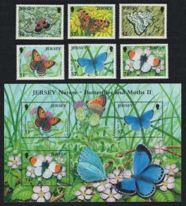Jersey Butterflies and Moths 2nd series 6v+MS SG#1279-MS1285