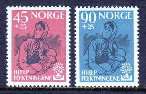 NORWAY — SCOTT B64-B65 — 1960 WORLD REFUGEE YEAR SET — MNH — SCV $22.50