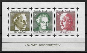1969 Germany 1007 Universal Women's Suffrage 50th Anniversary MNH S/S