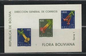 Bolivia #C239a 1962 Flowers sheet) VFMNH  CV $12.00
