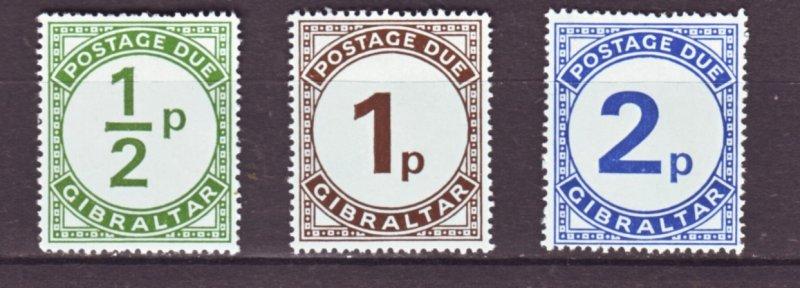 J22156 Jlstamps 1971 gibraltar set mnh #j4-6 postage dues