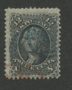 1861 US Stamp #69 12c Used Red & Blue Canceled Catalogue Value $95