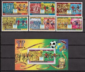 Z2926 1978 comoro islands set mh + s/s mnh #402-8 sports ovpt,s