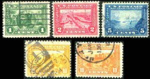 Sc # 397 - 400A Perf 12 1913 Panama-Pacific Complete Set Fine