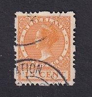 Netherlands  #182a  used  1928  Wilhelmina  syncopated 4 sides  15c orange