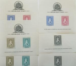 O) 1942 HAITI, PERFORATED  AND IMPERFORATE, PATRONES OF AHITI - MAP AND COAT OF