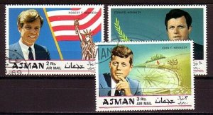 Ajman, Mi cat. 445-447 A. The Kennedy Brothers issue. C.T.O. *