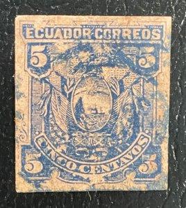 Ecuador #14 ??? Imperforate on Pinkish/Reddish paper 1881
