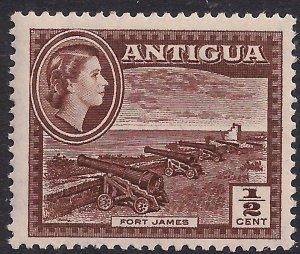 Antigua 1953 – 62 QE2 1/2ct Brown Umm SG 120a ( L1434 )