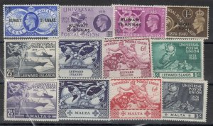 Kuwait Leewald Island Malta 1949 UPU Sets x 3 MNH J7099