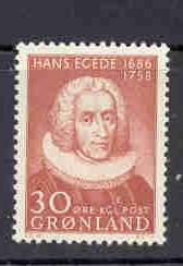 Greenland Sc 46 1958 30 ore Hans Egede stamp NH