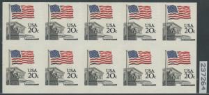 #1894b FLAG BLOCK OF 10 IMPERF HORIZONTALLY ERROR W/ PF CERT CV $2,000 WLM79