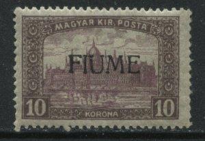 Fiume overprinted on 1918 Hungary 10 korona mint o.g. hinged