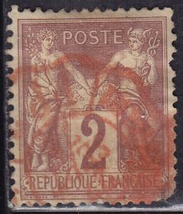 France 88 USED 1877 Peace & Commerce 2c