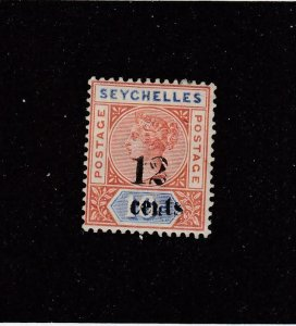 SEYCHELLES (MK4353)  # 23  VF-MH 12 on 10c  QV /ULTRA & ORANGE BROWN CAT VAL $20