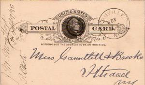 United States New York Peruville 1888 target  1829-1941  Postal Card.