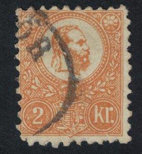 Hungary Emperor Franz Josef I 2k yellow 1887 Canc SG#8 MI#1b CV?500.-
