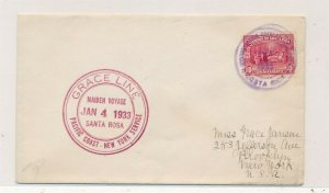 D174416 Costa Rica Cover 1933 Grace Line Maiden Voyage New York USA