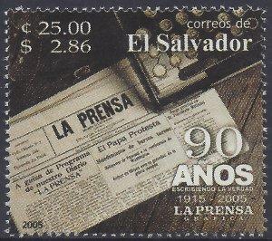 EL SALVADOR LA PRENSA NEWSPAPER 90th ANNIVERSARY Sc 1614 MNH 2005