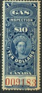 CANADA 1897 QV $10.00 GAS INSPECTION REVENUE VDM. FG26 F-VF USED